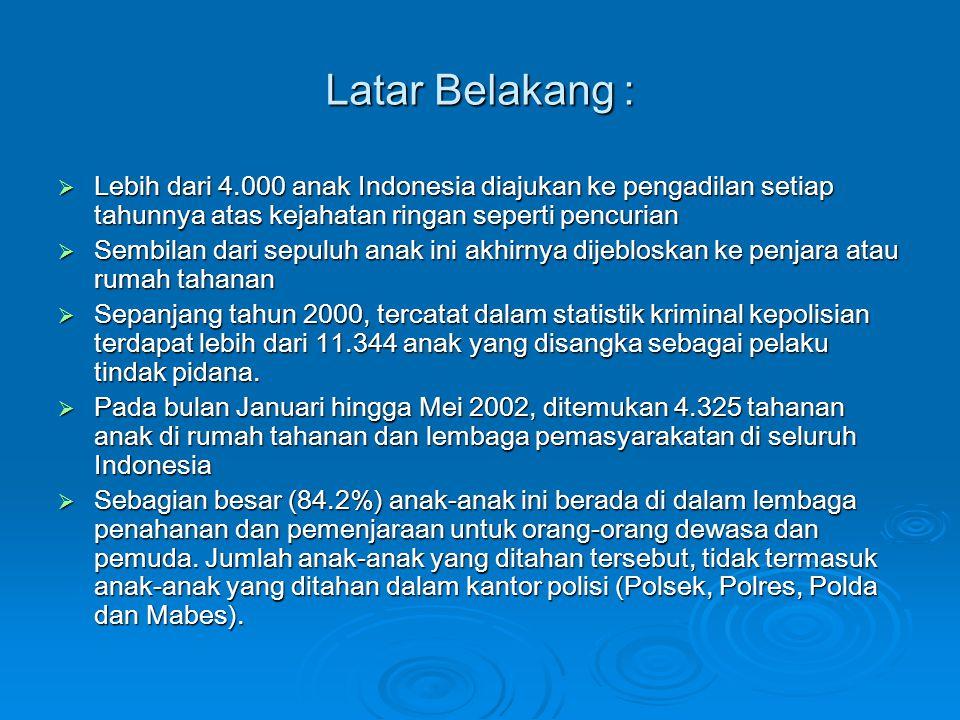 Latar Belakang :  Lebih dari 4.000 anak Indonesia diajukan ke pengadilan setiap tahunnya atas kejahatan ringan seperti pencurian  Sembilan dari sepu