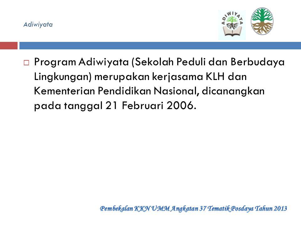 Dasar Hukum  Undang-Undang Republik Indonesia Nomor 32 Tahun 2009 tentang Perlindungan dan Pengelolaan Lingkungan Hidup  Peraturan Menteri Negara Li