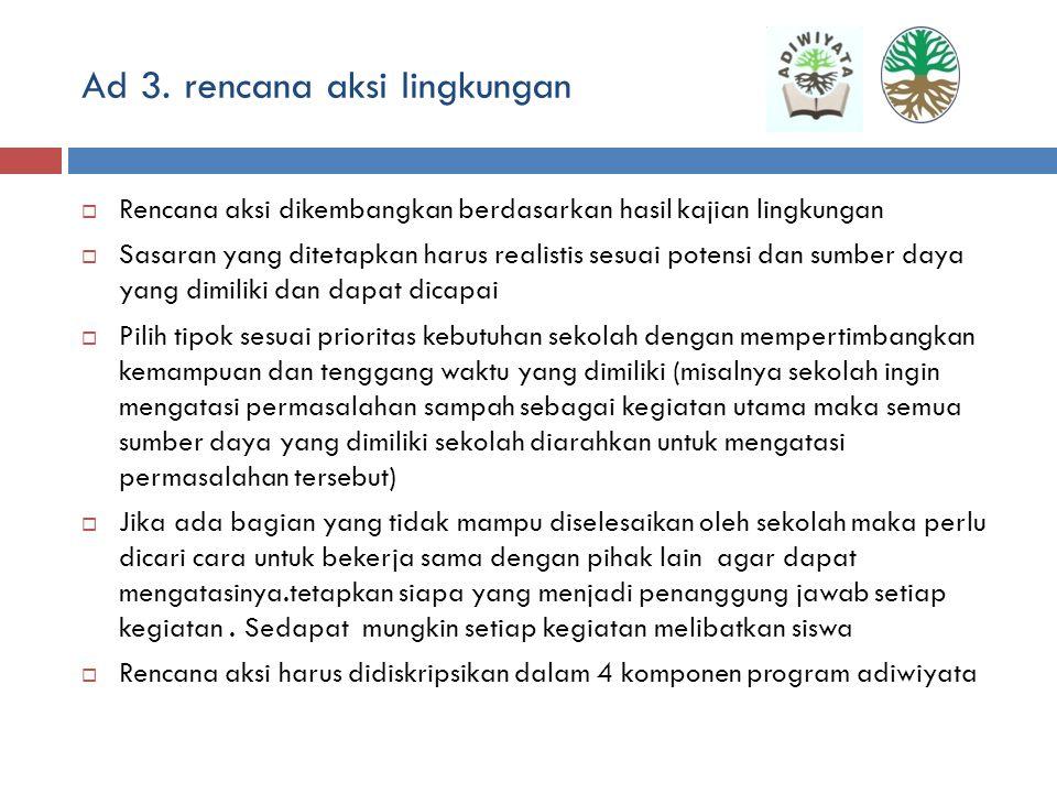 Ad 2. kajian lingkungan sekolah  Fungsi : mengetahui gambaran dan kondisi lingkungan sekolah saat ini yang perlu segera dilakukan langkah perbaikan,