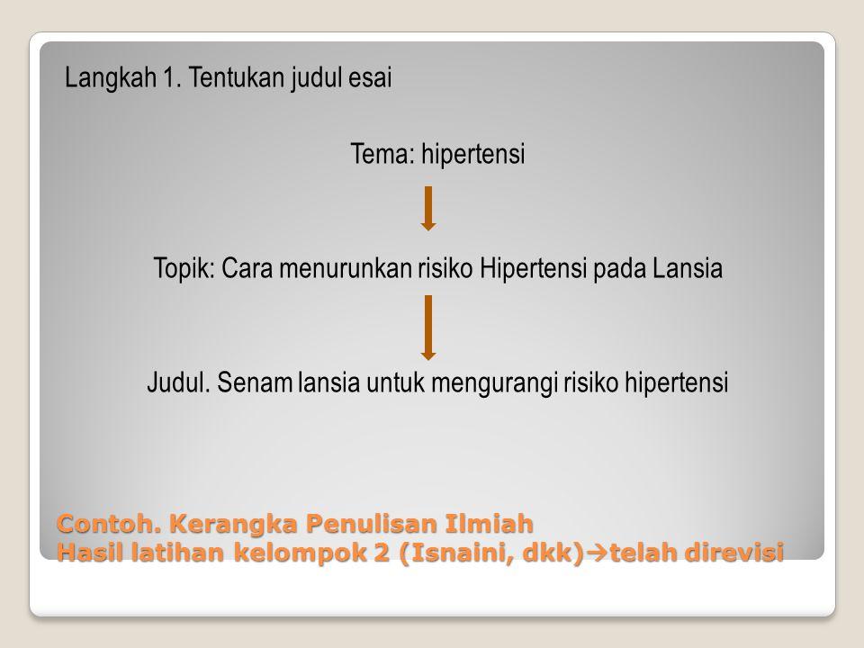 Contoh. Kerangka Penulisan Ilmiah Hasil latihan kelompok 2 (Isnaini, dkk)  telah direvisi Langkah 1. Tentukan judul esai Tema: hipertensi Topik: Cara
