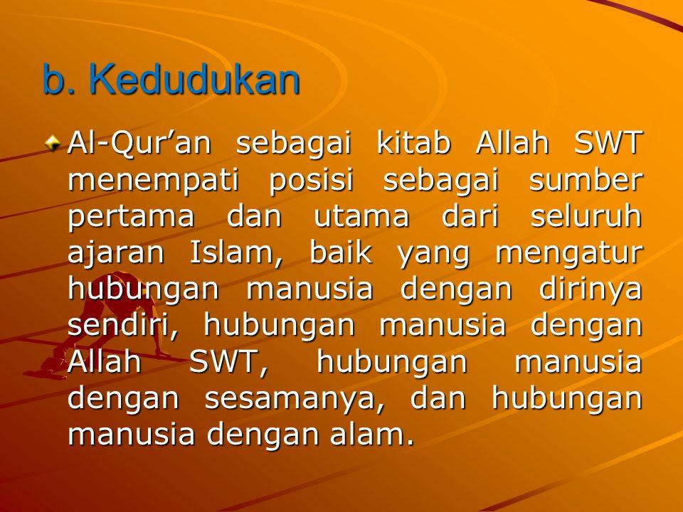 2. Pengertian,Kedudukan,dan Fungsi Al-Qur'an •A. Pengertian •Secara harfiah,Al-Qur'an berasal dari bahasa Arab yang artinya bacaan atau himpunan.Al- Q