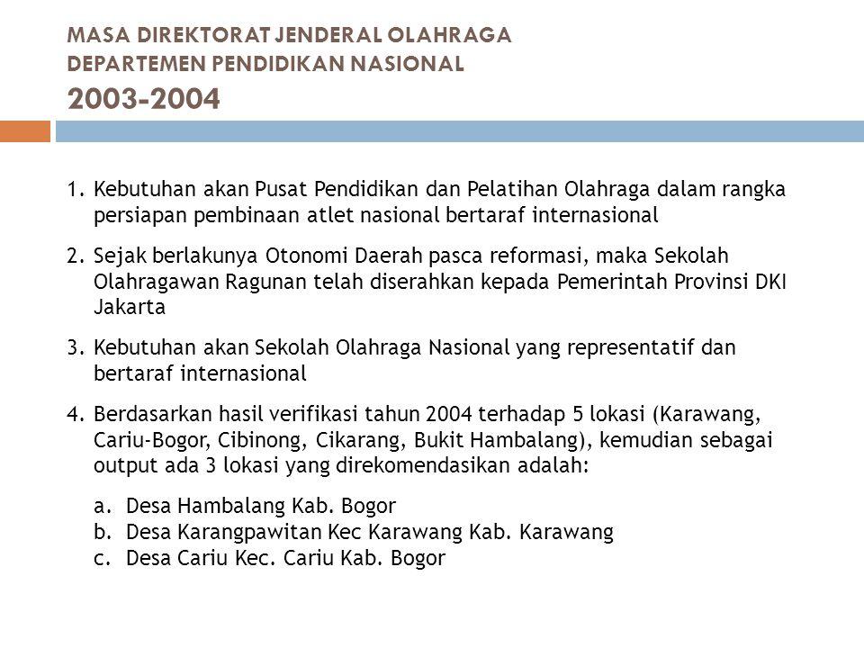 5.Penetapan lokasi pembangunan Pusat Pendidikan dan Latihan Olahraga Pelajar Nasional di Hambalang oleh Direktur Jenderal Olahraga Departemen Pendidikan Nasional (Surat Nomor: 0514A/OR/2004 tanggal 10 Mei 2004 perihal Rencana Pembangunan Gedung Diklat Olahraga Pelajar Nasional) 6.Ijin prinsip dari Bupati Bogor Nomor: 591/244/Kpts/Huk/2004 tanggal 19 Juli 2004 tentang Penetapan Lokasi Untuk Pembangunan Gedung Pendidikan dan Latihan Olahraga Pelajar Nasional terletak di Desa Hambalang Kecamatan Citeureup Kabupaten Bogor seluas ±30 hektar atas nama Direktorat Jenderal Olahraga Departemen Pendidikan Nasional 7.Tahun 2004 dilaksanakan pembayaran kerohiman untuk penggarap lahan dan pengurusan sertipikat.