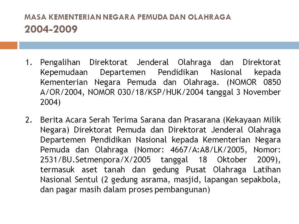 1.Pengalihan Direktorat Jenderal Olahraga dan Direktorat Kepemudaan Departemen Pendidikan Nasional kepada Kementerian Negara Pemuda dan Olahraga. (NOM