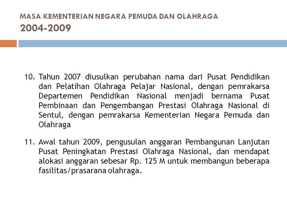 10.Tahun 2007 diusulkan perubahan nama dari Pusat Pendidikan dan Pelatihan Olahraga Pelajar Nasional, dengan pemrakarsa Departemen Pendidikan Nasional