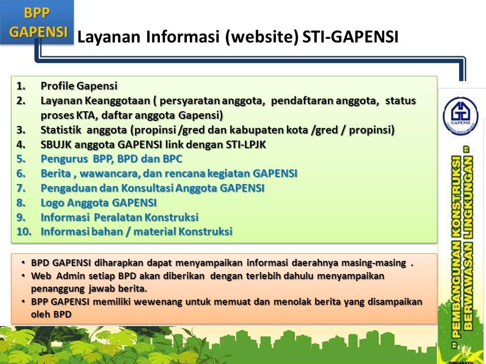 BPP GAPENSI GAPENSIBPP Layanan Informasi (website) STI-GAPENSI 1.Profile Gapensi 2.Layanan Keanggotaan ( persyaratan anggota, pendaftaran anggota, sta