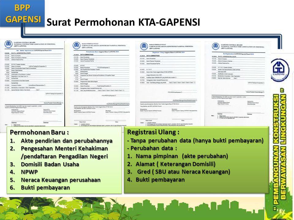 BPP GAPENSI GAPENSIBPP Surat Permohonan KTA-GAPENSI Permohonan Baru : 1.Akte pendirian dan perubahannya 2.Pengesahan Menteri Kehakiman /pendaftaran Pe