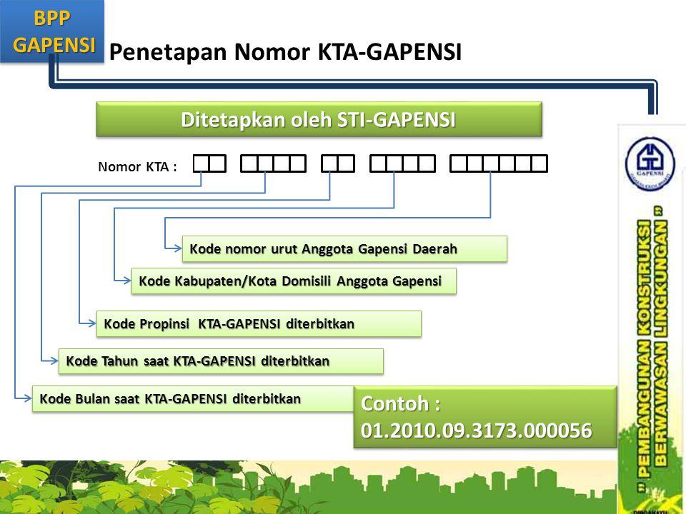 BPP GAPENSI GAPENSIBPP Penetapan Nomor KTA-GAPENSI Nomor KTA : Ditetapkan oleh STI-GAPENSI Kode Bulan saat KTA-GAPENSI diterbitkan Kode Tahun saat KTA