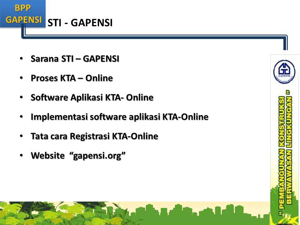 BPP GAPENSI GAPENSIBPP STI - GAPENSI • Sarana STI – GAPENSI • Proses KTA – Online • Software Aplikasi KTA- Online • Implementasi software aplikasi KTA