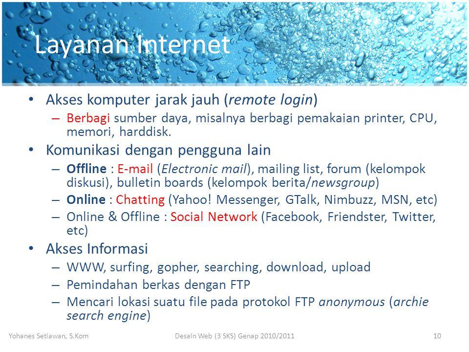 Layanan Internet • Akses komputer jarak jauh (remote login) – Berbagi sumber daya, misalnya berbagi pemakaian printer, CPU, memori, harddisk.