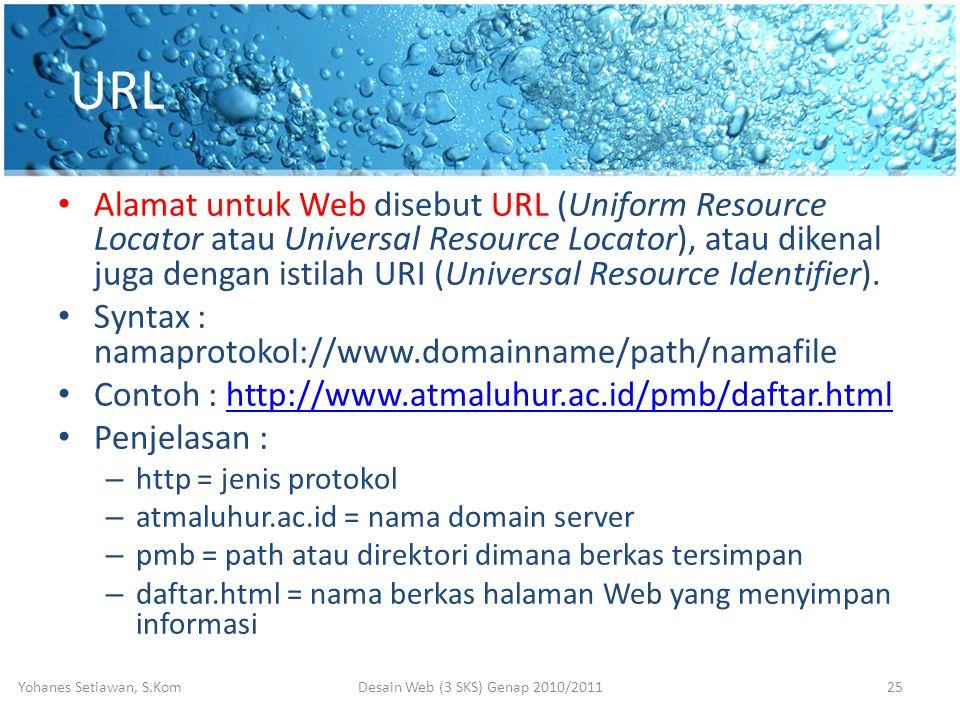 URL • Alamat untuk Web disebut URL (Uniform Resource Locator atau Universal Resource Locator), atau dikenal juga dengan istilah URI (Universal Resource Identifier).