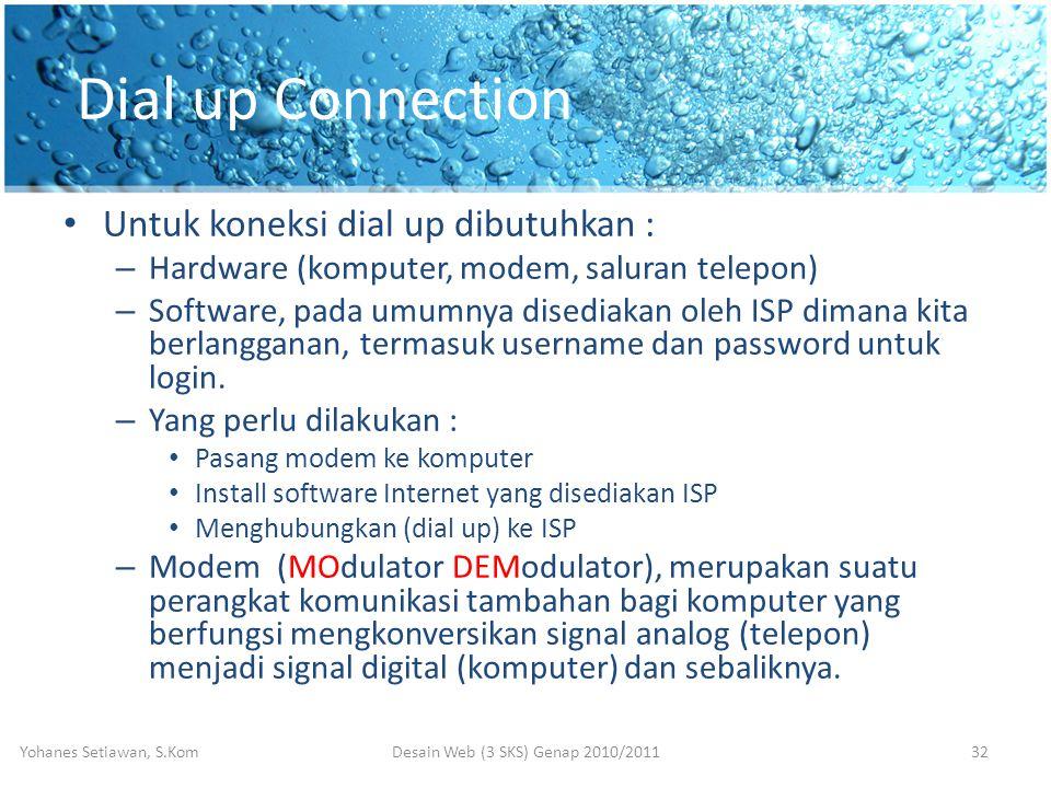Dial up Connection • Untuk koneksi dial up dibutuhkan : – Hardware (komputer, modem, saluran telepon) – Software, pada umumnya disediakan oleh ISP dimana kita berlangganan, termasuk username dan password untuk login.