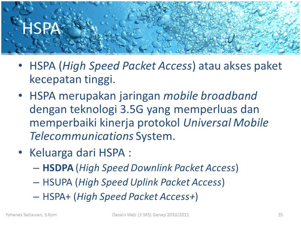 HSPA • HSPA (High Speed Packet Access) atau akses paket kecepatan tinggi.