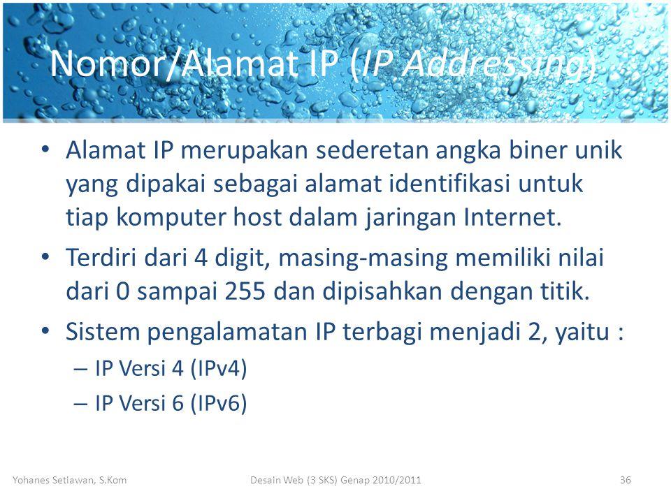 Nomor/Alamat IP (IP Addressing) • Alamat IP merupakan sederetan angka biner unik yang dipakai sebagai alamat identifikasi untuk tiap komputer host dalam jaringan Internet.