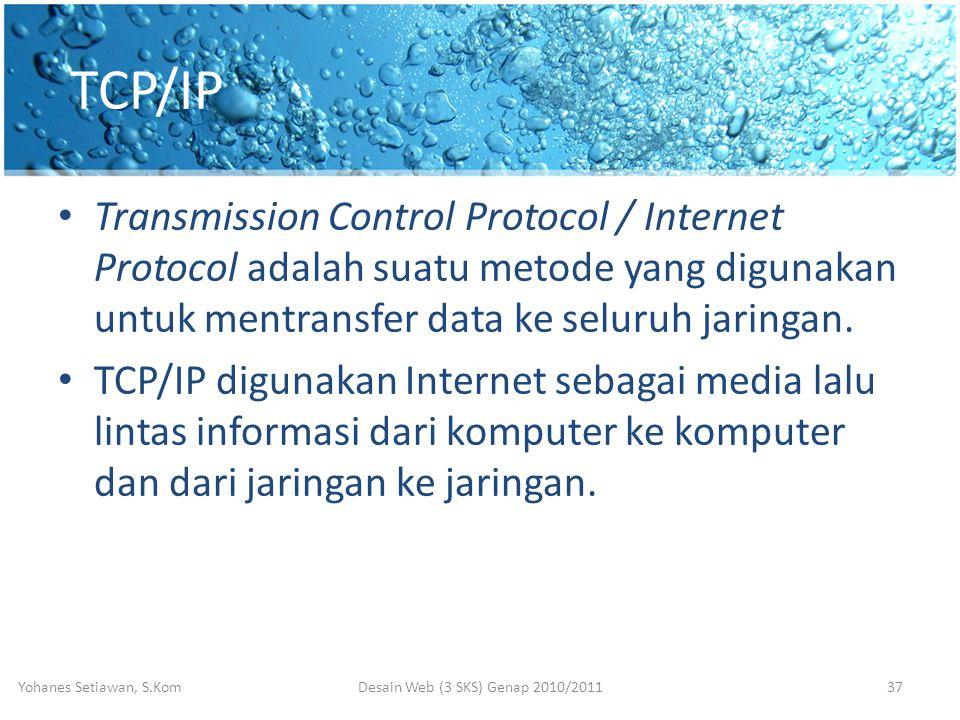 TCP/IP • Transmission Control Protocol / Internet Protocol adalah suatu metode yang digunakan untuk mentransfer data ke seluruh jaringan.