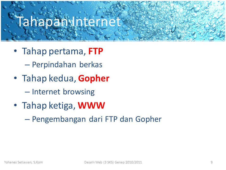 Tahapan Internet • Tahap pertama, FTP – Perpindahan berkas • Tahap kedua, Gopher – Internet browsing • Tahap ketiga, WWW – Pengembangan dari FTP dan Gopher Desain Web (3 SKS) Genap 2010/2011Yohanes Setiawan, S.Kom9