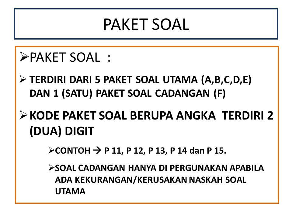 PAKET SOAL  PAKET SOAL :  TERDIRI DARI 5 PAKET SOAL UTAMA (A,B,C,D,E) DAN 1 (SATU) PAKET SOAL CADANGAN (F)  KODE PAKET SOAL BERUPA ANGKA TERDIRI 2