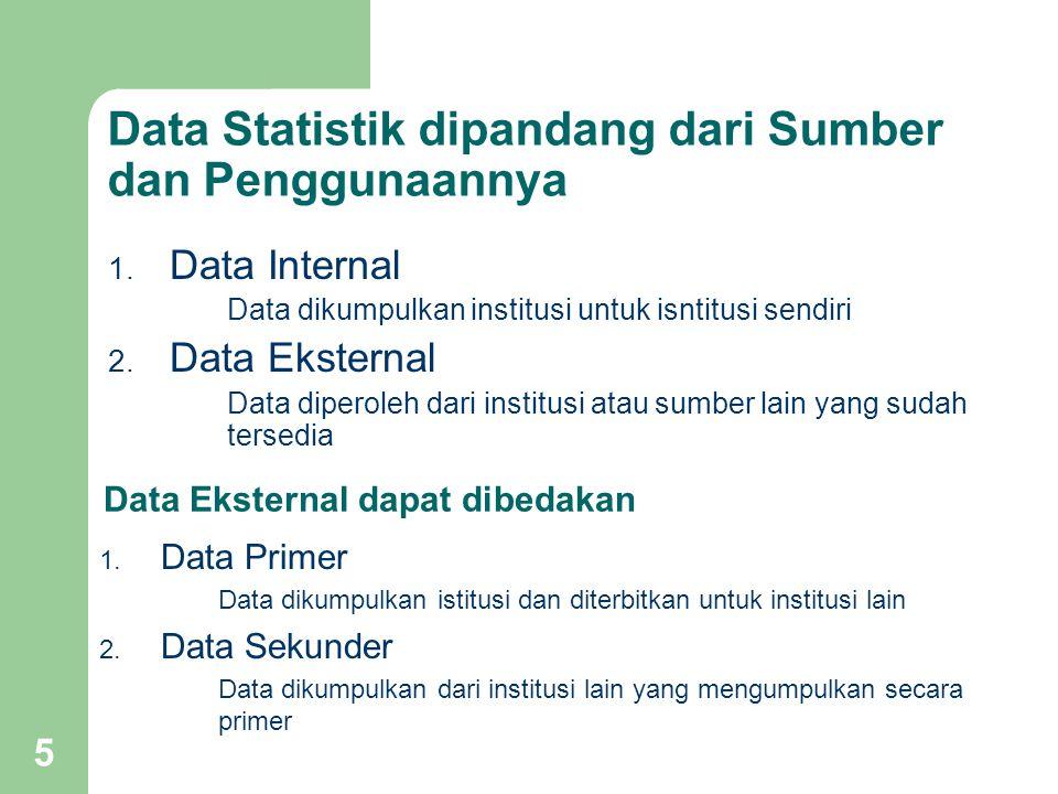 5 Data Statistik dipandang dari Sumber dan Penggunaannya 1. Data Internal Data dikumpulkan institusi untuk isntitusi sendiri 2. Data Eksternal Data di