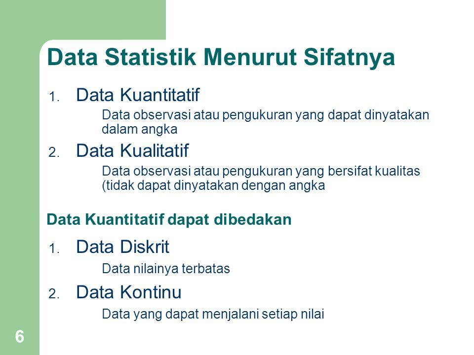 6 Data Statistik Menurut Sifatnya 1. Data Kuantitatif Data observasi atau pengukuran yang dapat dinyatakan dalam angka 2. Data Kualitatif Data observa