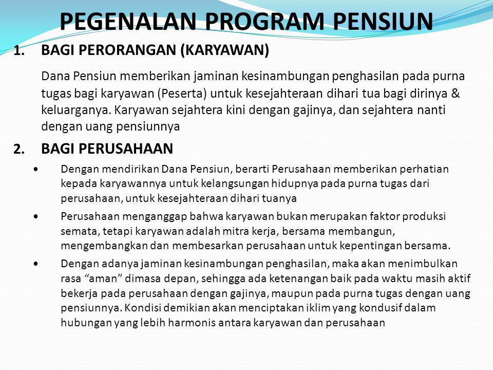 DP SEBAGAI BADAN HUKUM  DP adalah Badan Hukum yang mengelola dan menjalankan program yang menjanjikan Manfaat Pensiun  DP memiliki status sebagai Badan Hukum dengan syarat dan tata cara yang diatur dalam undang-undang DP [UU DP Psl 3]  DP memiliki status sebagai Badan Hukum dan dapat memulai kegiatannya sebagai DP sejak tanggal pengesahan menteri keuangan [UU DP Psl 7(1)]