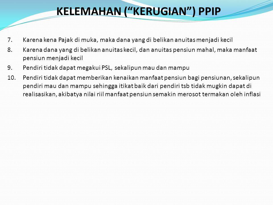 KELEMAHAN ( KERUGIAN ) PPIP 7.