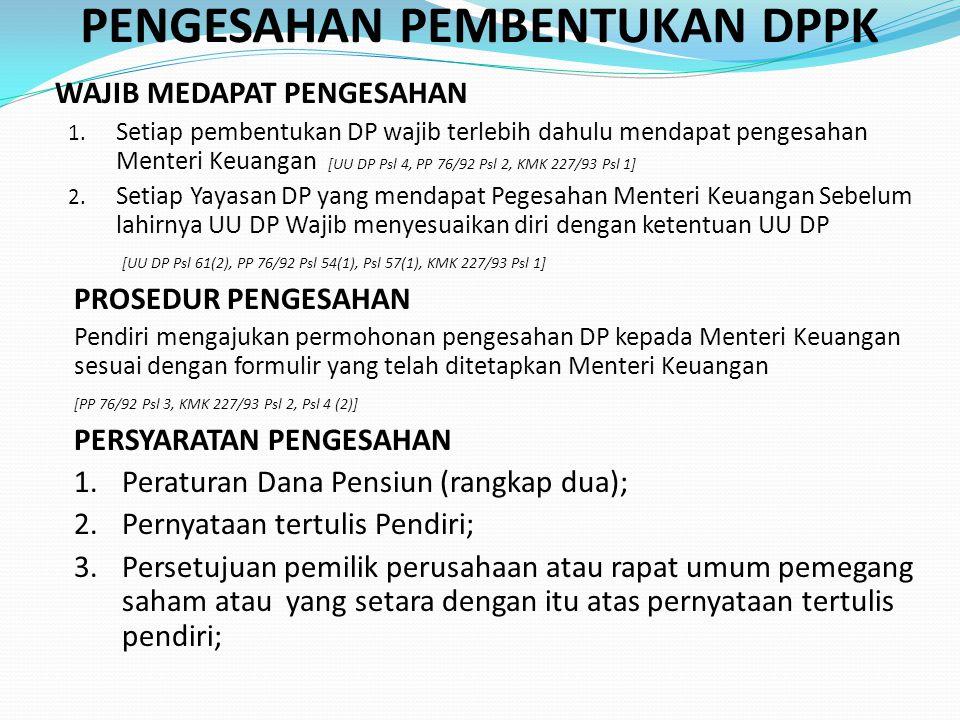 PENGESAHAN PEMBENTUKAN DPPK WAJIB MEDAPAT PENGESAHAN 1.