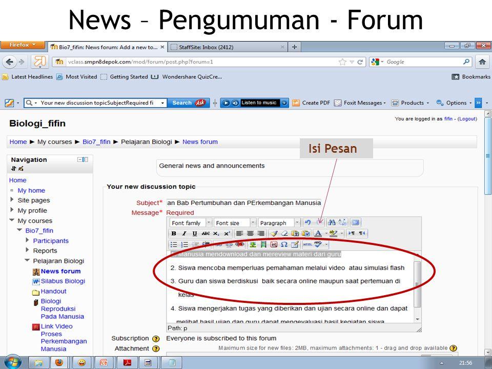 News – Pengumuman - Forum Isi Pesan