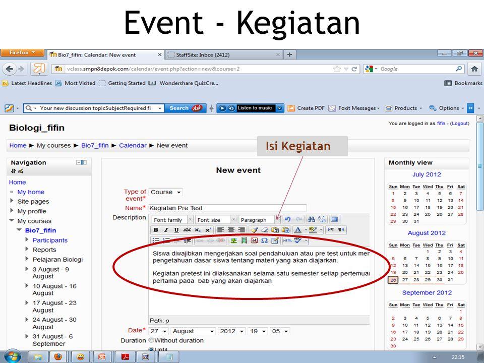  Ekplorasi dan Perkaya Konten News, Event, Glossary dan Forum sesuai kebutuhan pembelajaran Tugas