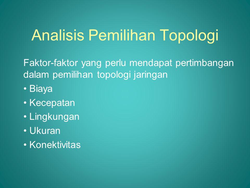 Analisis Pemilihan Topologi Faktor-faktor yang perlu mendapat pertimbangan dalam pemilihan topologi jaringan • Biaya • Kecepatan • Lingkungan • Ukuran