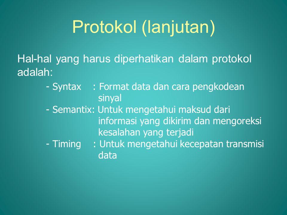 Protokol (lanjutan) Hal-hal yang harus diperhatikan dalam protokol adalah: - Syntax : Format data dan cara pengkodean sinyal - Semantix: Untuk mengeta