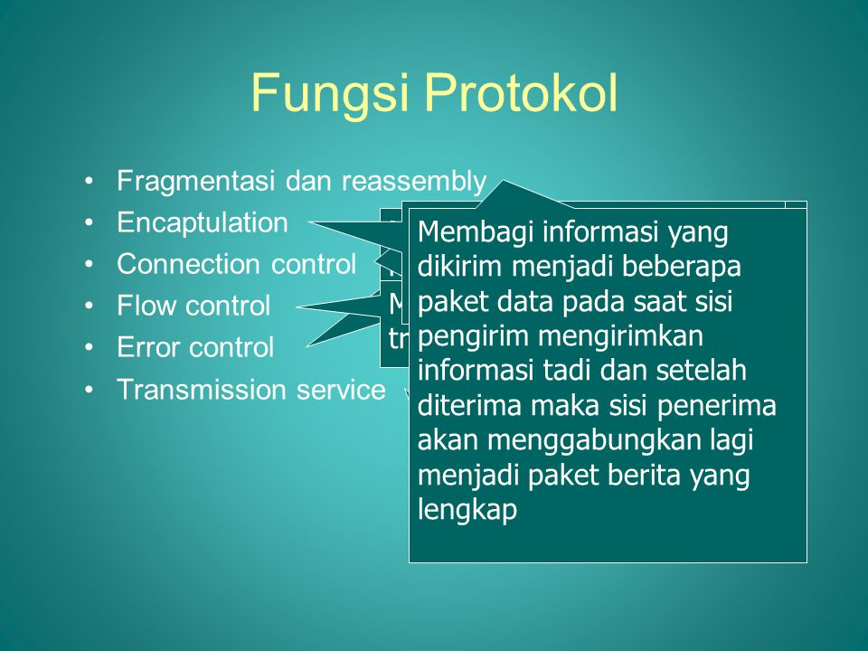 Fungsi Protokol •Fragmentasi dan reassembly •Encaptulation •Connection control •Flow control •Error control •Transmission service Memberi pelayanan ko