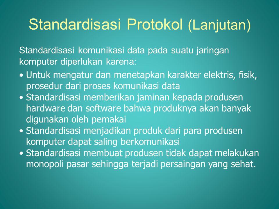 Standardisasi Protokol (Lanjutan) Standardisasi komunikasi data pada suatu jaringan komputer diperlukan karena: •Untuk mengatur dan menetapkan karakte