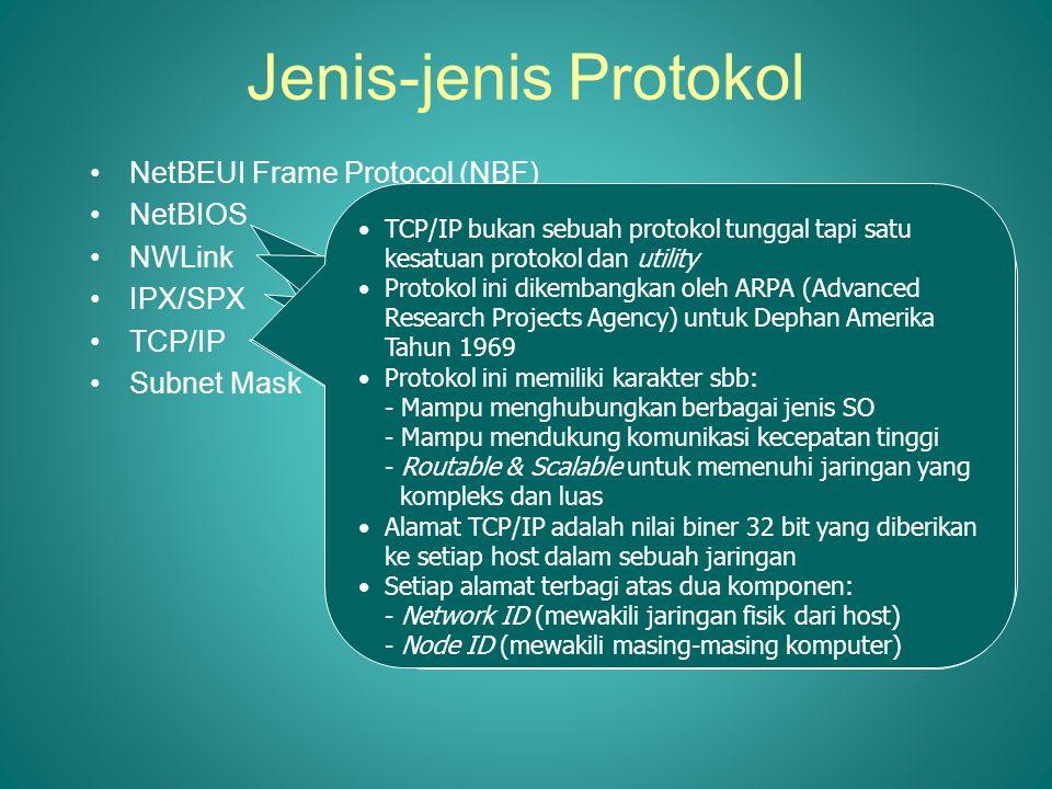 Jenis-jenis Protokol •NetBEUI Frame Protocol (NBF) •NetBIOS •NWLink •IPX/SPX •TCP/IP •Subnet Mask Dikembangkan oleh IBM Keuntungan: •Batas 254 session