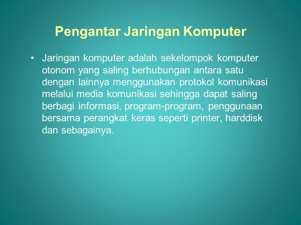 Manfaat Jaringan Komputer •Sharing Resources •Media Komunikasi •Integrasi Data •Pengembangan dan Pemeliharaan •Keamanan Data •Sumber Daya Lebih Efisien dan Informasi Terkini