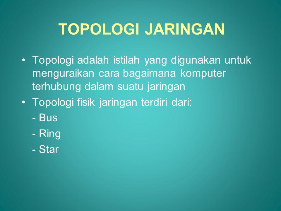 TOPOLOGI JARINGAN •Topologi adalah istilah yang digunakan untuk menguraikan cara bagaimana komputer terhubung dalam suatu jaringan •Topologi fisik jar