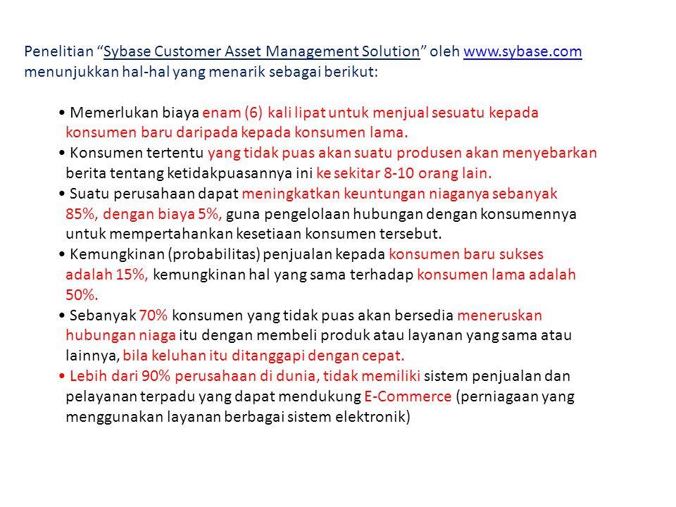 Penelitian Sybase Customer Asset Management Solution oleh www.sybase.comwww.sybase.com menunjukkan hal-hal yang menarik sebagai berikut: • Memerlukan biaya enam (6) kali lipat untuk menjual sesuatu kepada konsumen baru daripada kepada konsumen lama.