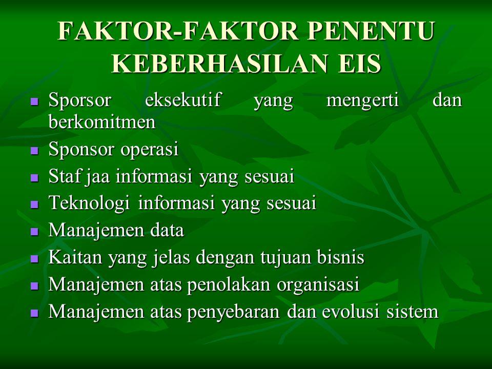 FAKTOR-FAKTOR PENENTU KEBERHASILAN EIS  Sporsor eksekutif yang mengerti dan berkomitmen  Sponsor operasi  Staf jaa informasi yang sesuai  Teknolog