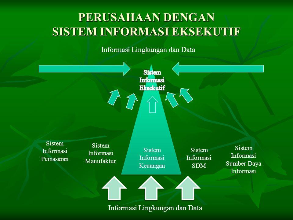 PERUSAHAAN DENGAN SISTEM INFORMASI EKSEKUTIF Informasi Lingkungan dan Data Sistem Informasi Keuangan Sistem Informasi Manufaktur Sistem Informasi Pema