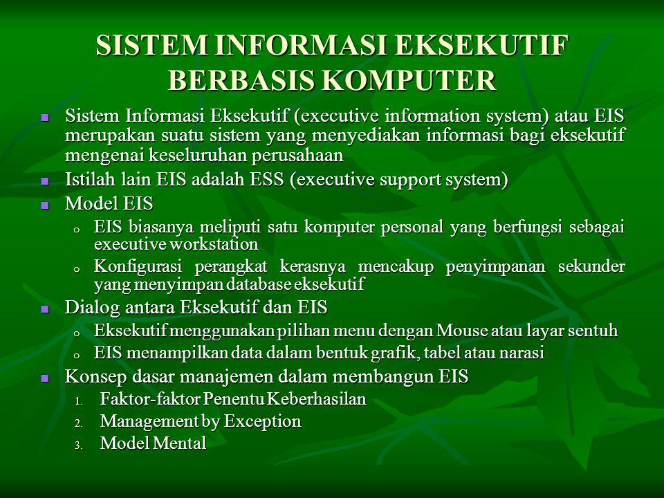 SISTEM INFORMASI EKSEKUTIF BERBASIS KOMPUTER  Sistem Informasi Eksekutif (executive information system) atau EIS merupakan suatu sistem yang menyedia