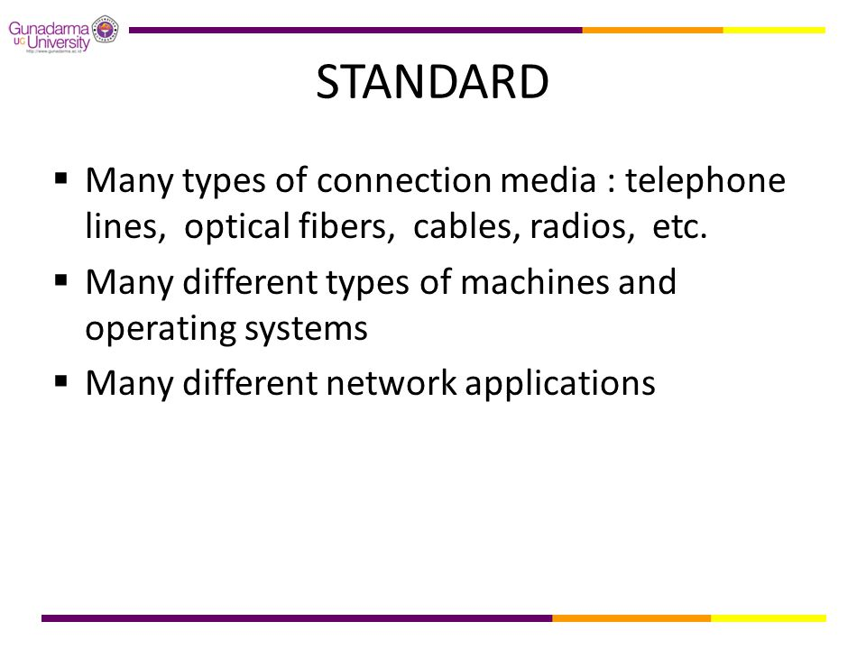 STANDARD  Many types of connection media : telephone lines, optical fibers, cables, radios, etc.
