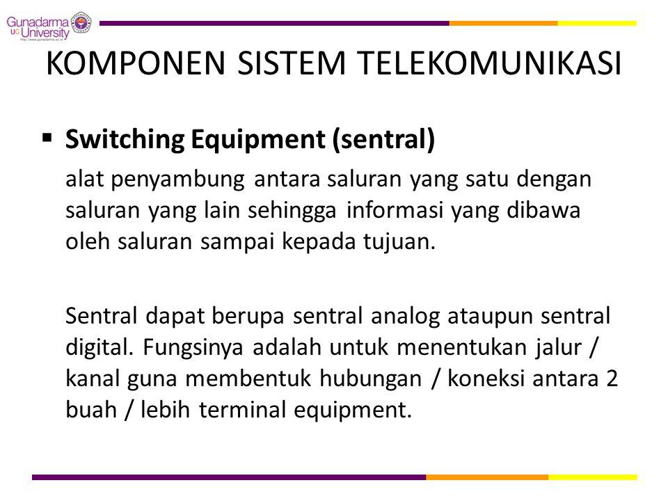 KOMPONEN SISTEM TELEKOMUNIKASI  Saluran transmisi (wireline dan wireless) Sebagai perantara / penyampai antara terminal dengan sentral atau sentral dengan sentral guna menyalurkan informasi dari pengirim ke penerima.