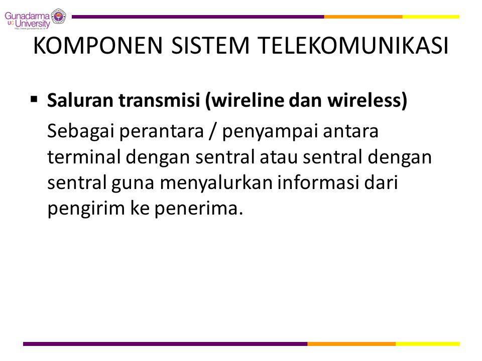 KOMPONEN SISTEM TELEKOMUNIKASI  Saluran transmisi (wireline dan wireless) Sebagai perantara / penyampai antara terminal dengan sentral atau sentral d
