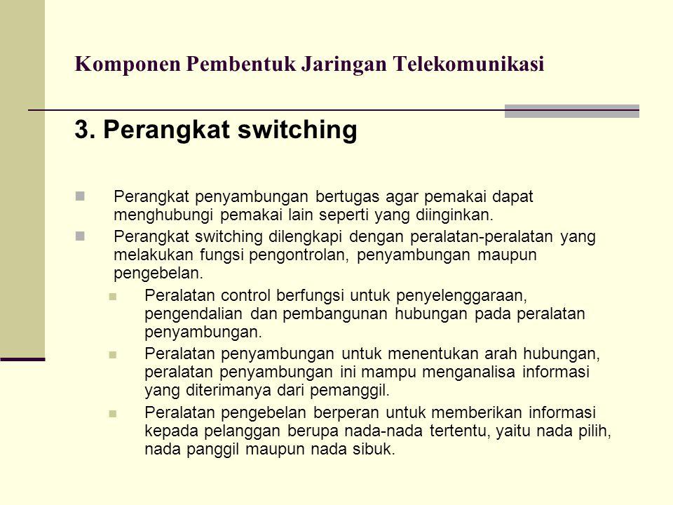 Komponen Pembentuk Jaringan Telekomunikasi 3. Perangkat switching  Perangkat penyambungan bertugas agar pemakai dapat menghubungi pemakai lain sepert