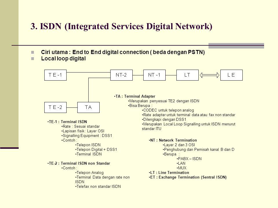 3. ISDN (Integrated Services Digital Network)  Ciri utama : End to End digital connection ( beda dengan PSTN)  Local loop digital •TE-1 : Terminal I