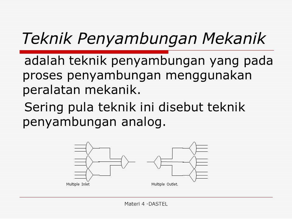 Materi 4 -DASTEL Teknik Penyambungan Mekanik adalah teknik penyambungan yang pada proses penyambungan menggunakan peralatan mekanik. Sering pula tekni