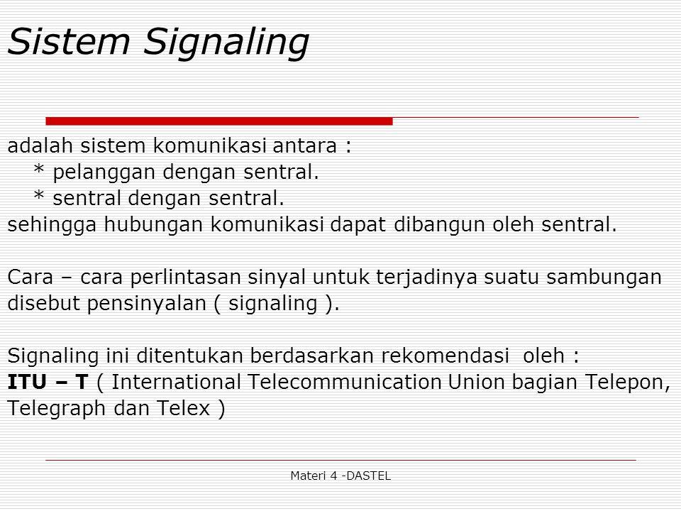 Materi 4 -DASTEL Sistem Signaling adalah sistem komunikasi antara : * pelanggan dengan sentral. * sentral dengan sentral. sehingga hubungan komunikasi