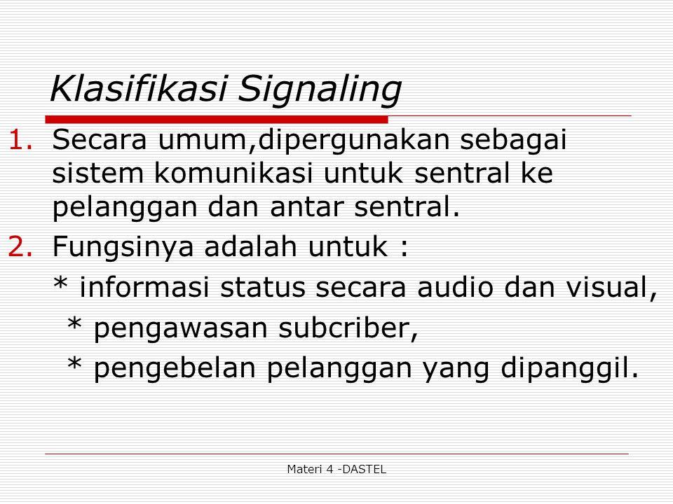 Materi 4 -DASTEL Klasifikasi Signaling 1.Secara umum,dipergunakan sebagai sistem komunikasi untuk sentral ke pelanggan dan antar sentral. 2.Fungsinya
