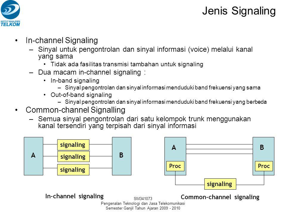 SM341073 Pengenalan Teknologi dan Jasa Telekomunikasi Semester Ganjil Tahun Ajaran 2009 - 2010 Jenis Signaling •In-channel Signaling –Sinyal untuk pengontrolan dan sinyal informasi (voice) melalui kanal yang sama •Tidak ada fasilitas transmisi tambahan untuk signaling –Dua macam in-channel signaling : •In-band signaling –Sinyal pengontrolan dan sinyal informasi menduduki band frekuensi yang sama •Out-of-band signaling –Sinyal pengontrolan dan sinyal informasi menduduki band frekuensi yang berbeda •Common-channel Signalling –Semua sinyal pengontrolan dari satu kelompok trunk menggunakan kanal tersendiri yang terpisah dari sinyal informasi signaling AB AB Proc signaling In-channel signaling Common-channel signaling