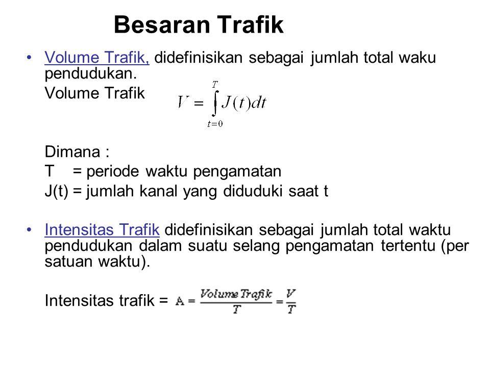 Teori Trafik •Secara umum trafik dapat diartikan sebagai perpindahan informasi dari satu tempat ke tempat lain melalui jaringan telekomunikasi. •Besar