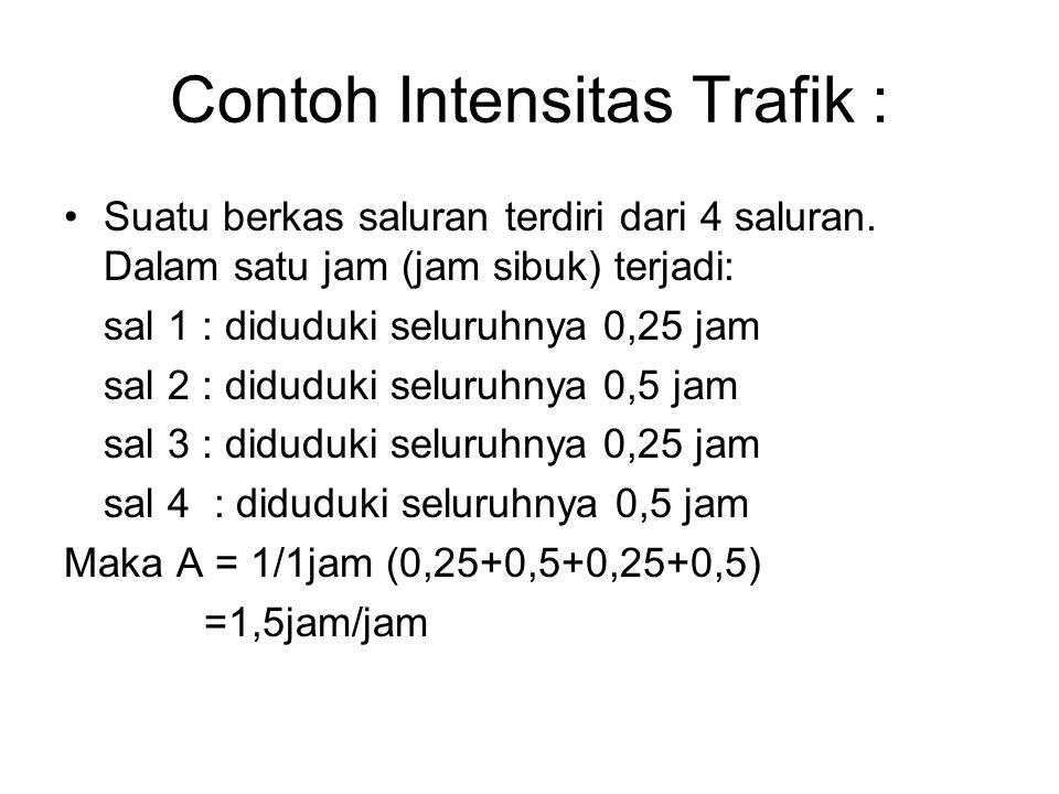 Pengertian Intensitas trafik dalam Erlang 1.Rata-rata banyaknya percakapan terjadi bersamaan selama satu jam 2.Rata-rata banyaknya percakapan yang ter