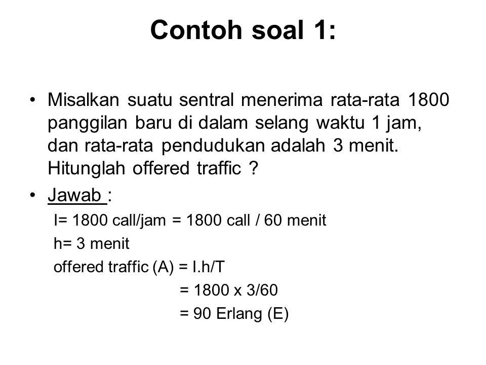 Perhitungan Offered Traffic (A) A= I.h/T di mana, A = Intensitas Trafik dalam Erlang I = Rata-rata banyaknya panggilan datang dalam waktu T h = Waktu